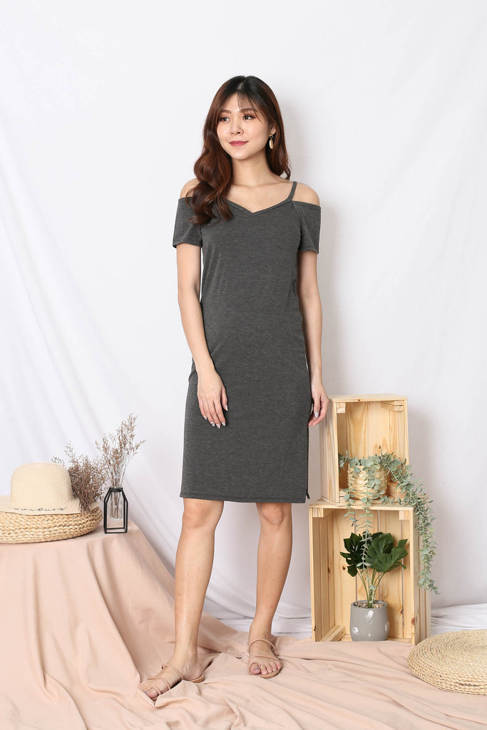 REAGAN COLD SHOULDER RELAXED DRESS IN DARK GREY