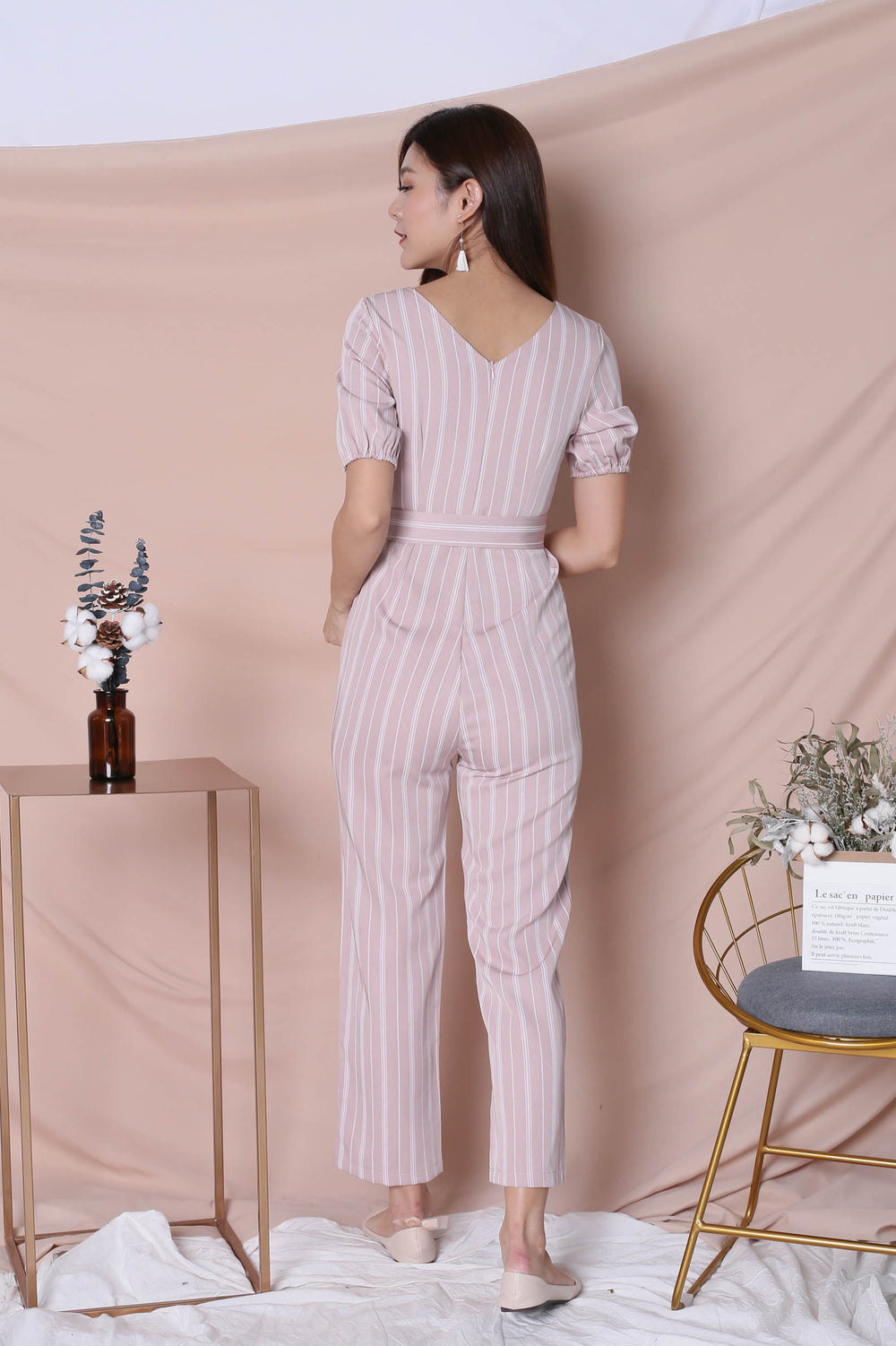 *TPZ* (PREMIUM) AVIA STRIPES JUMPSUIT IN DUSTY PINK