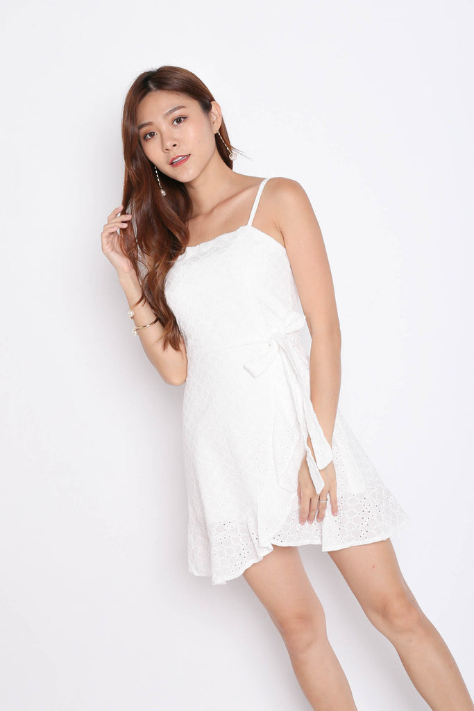 (PREMIUM) MAZEL EYELET WRAP DRESS IN WHITE - TOPAZETTE