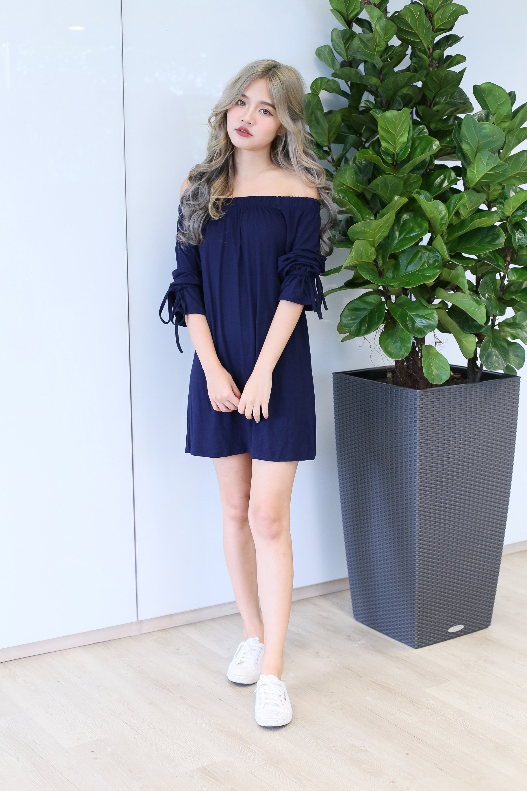 BOULDER OFF SHOULDER DRESS IN NAVY