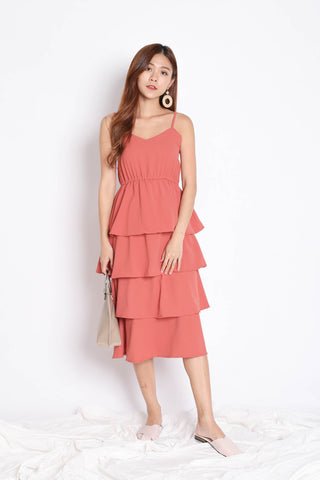 RAEN LAYERED DRESS IN CORAL