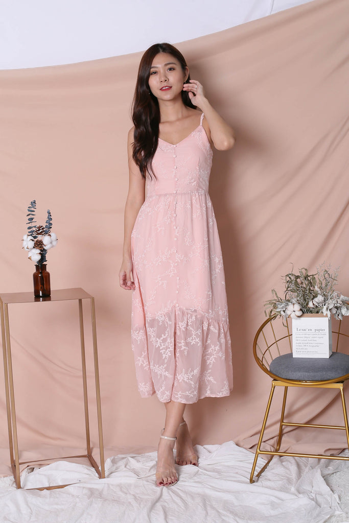 *TPZ* (PREMIUM) OVL ORGANZA MAXI DRESS IN DUSTY PINK - TOPAZETTE