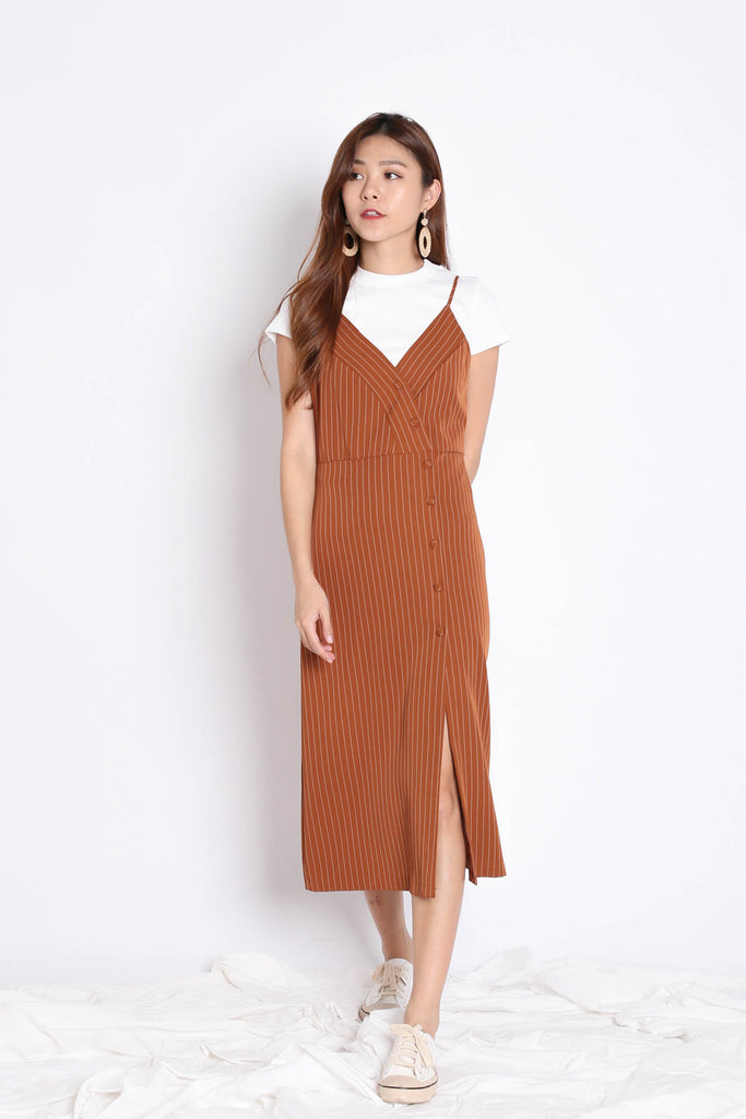 REIGN STRIPES BUTTON DRESS IN CAMEL - TOPAZETTE