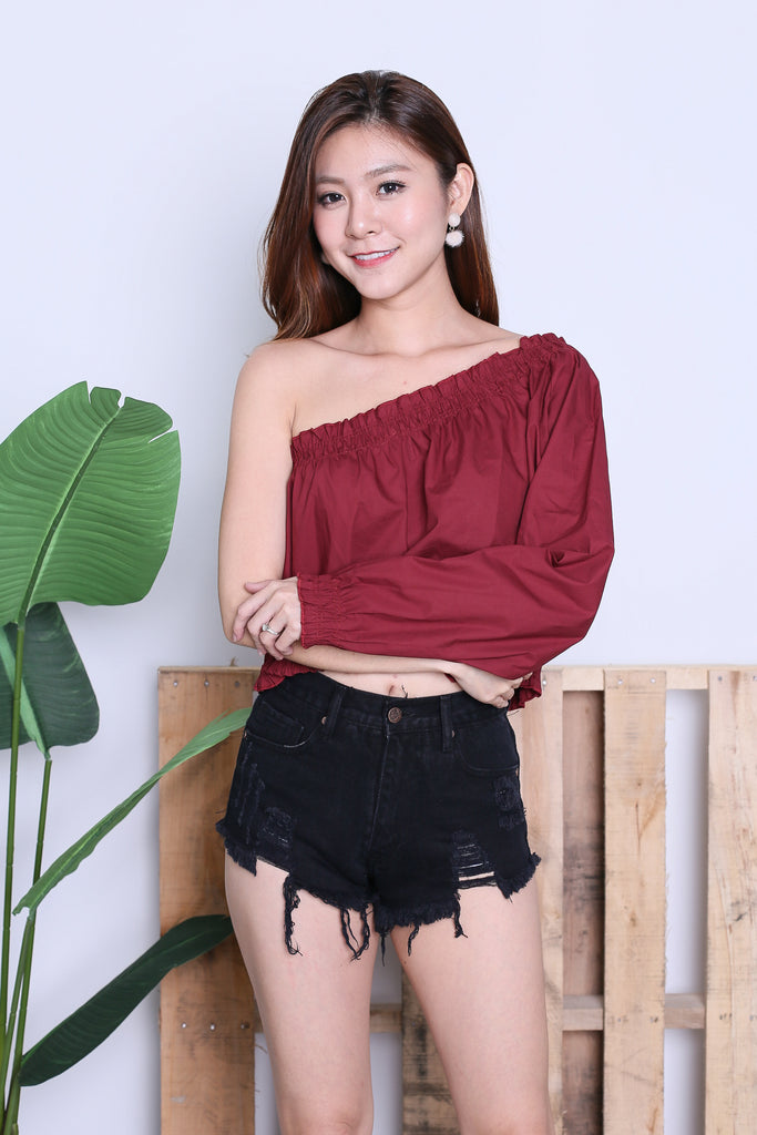 GAIA TOGA SMOCKED TOP IN WINE - TOPAZETTE