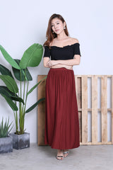 HARTLY PLEATED MAXI SKIRT IN WINE
