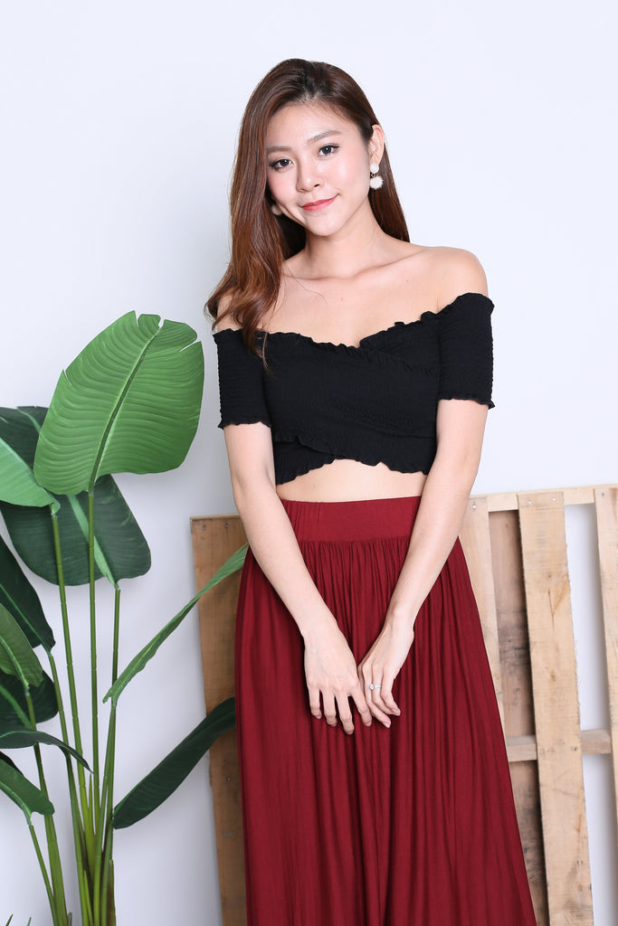 *RESTOCKED* SMOCKED CROSSOVER CROP TOP IN BLACK - TOPAZETTE