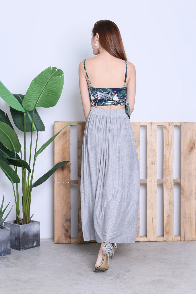 HARTLY PLEATED MAXI SKIRT IN LIGHT GREY - TOPAZETTE