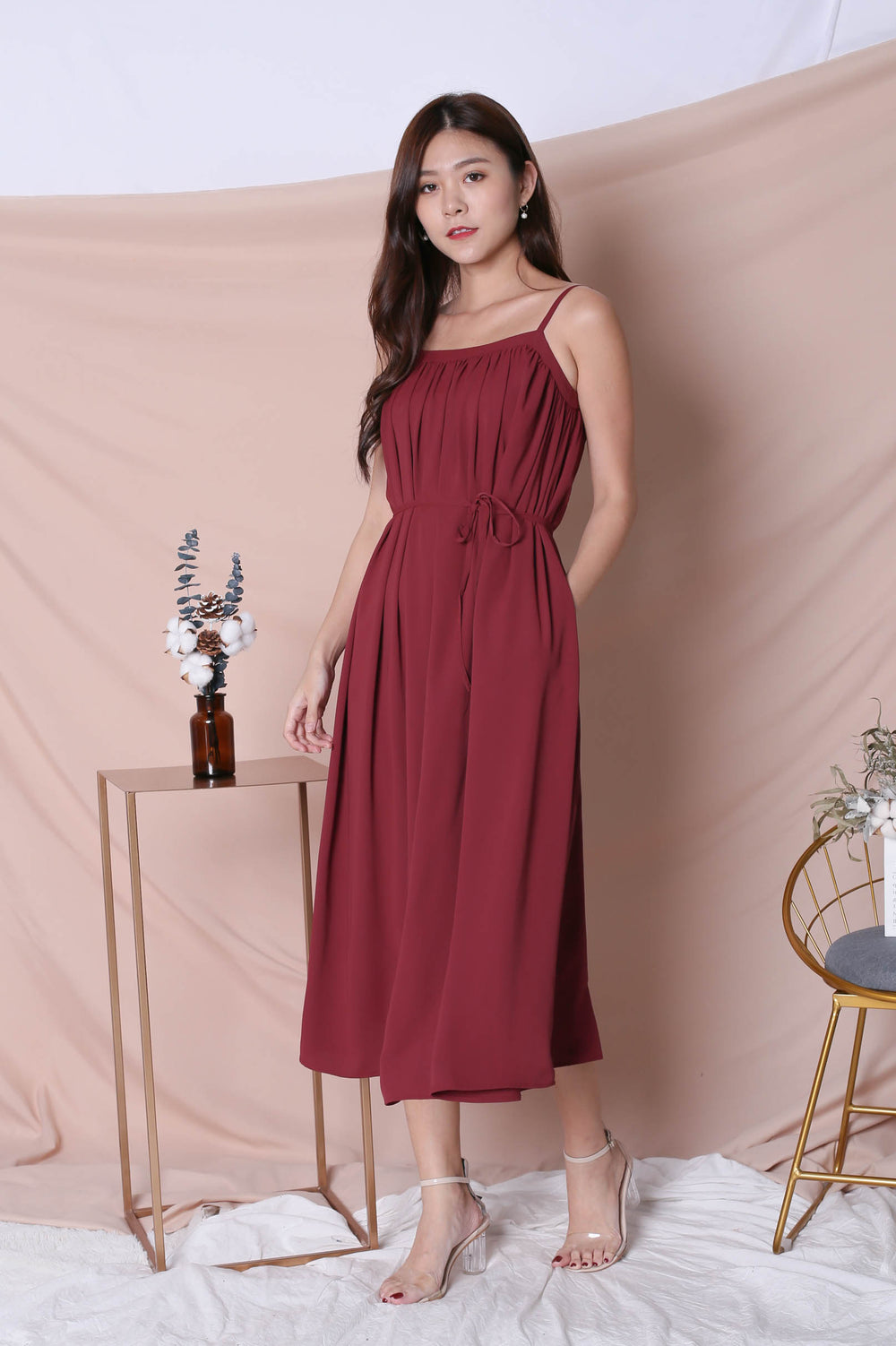 *TPZ* (PREMIUM) SIGNATURE TENT DRESS IN BURGUNDY