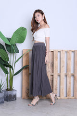 HARTLY PLEATED MAXI SKIRT IN DARK GREY