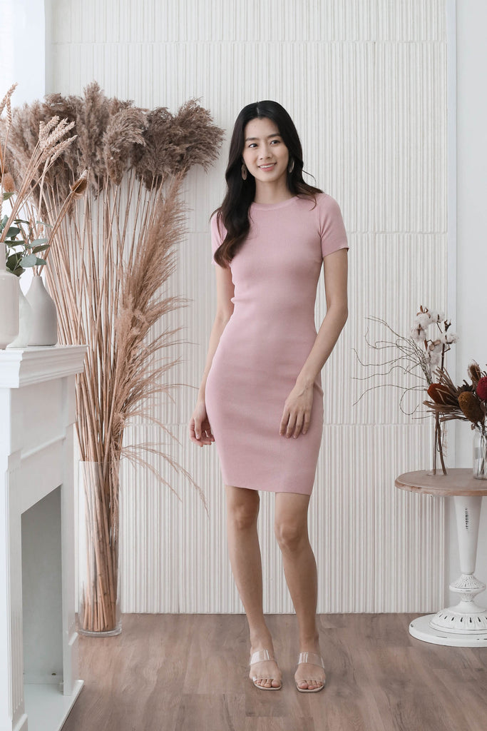 *BACKORDER* MELS KNIT DRESS IN BABY PINK
