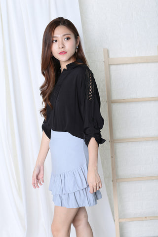 CROCHET SLEEVES LOUNGE SHIRT IN BLACK