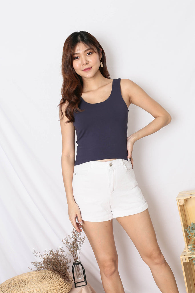 *TPZ* (PREMIUM) OLIVIA REVERSIBLE BASIC TOP IN NAVY