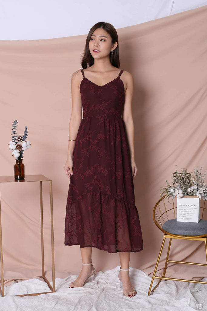 *TPZ* (PREMIUM) OVL ORGANZA MAXI DRESS IN PLUM - TOPAZETTE