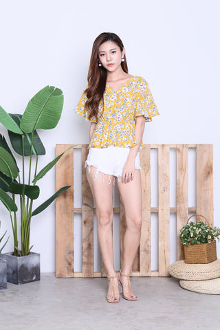 SPRING BLOOM KIMONO TOP IN MUSTARD