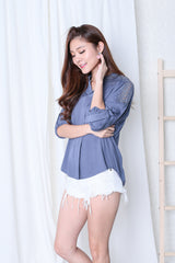CROCHET SLEEVES LOUNGE SHIRT IN CORNFLOWER BLUE