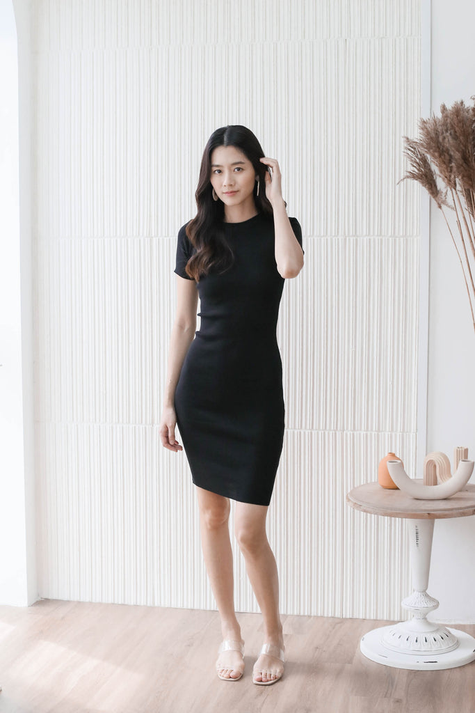 *BACKORDER* MELS KNIT DRESS IN BLACK