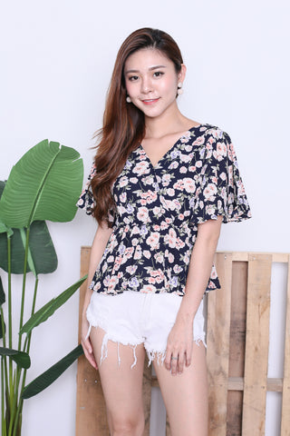 SPRING BLOOM KIMONO TOP IN NAVY