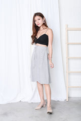 CARMEL STRIPES MIDI SKIRT IN GREY