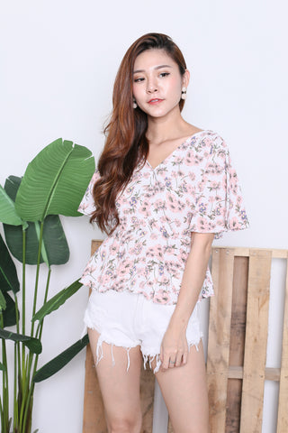 SPRING BLOOM KIMONO TOP IN WHITE/PINK