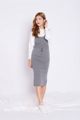KIMMER KNIT DUNGAREE DRESS IN GREY