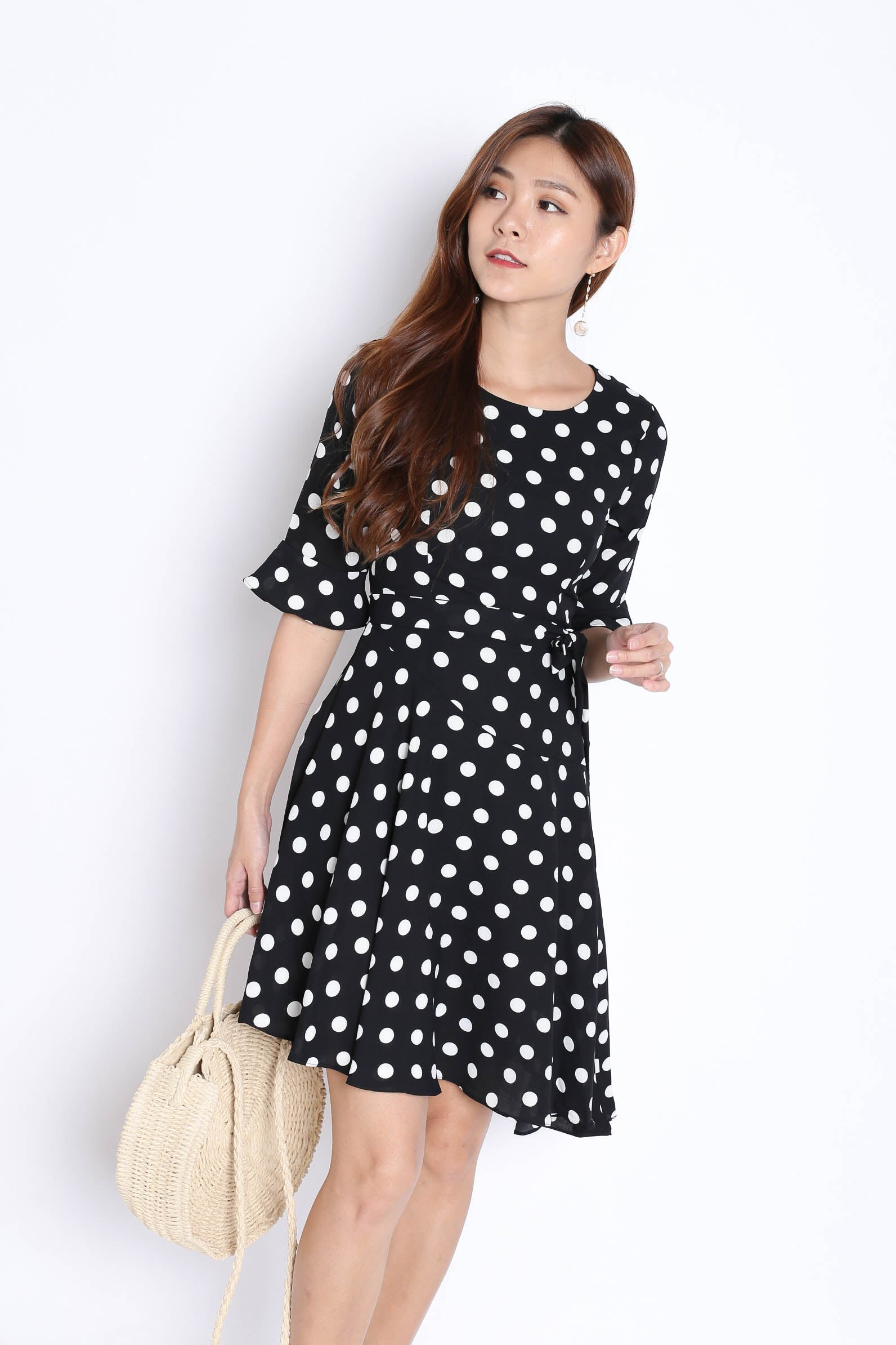 687dca3382d TPZ  (PREMIUM) SAFFRON POLKA DOT DRESS IN BLACK – TOPAZETTE