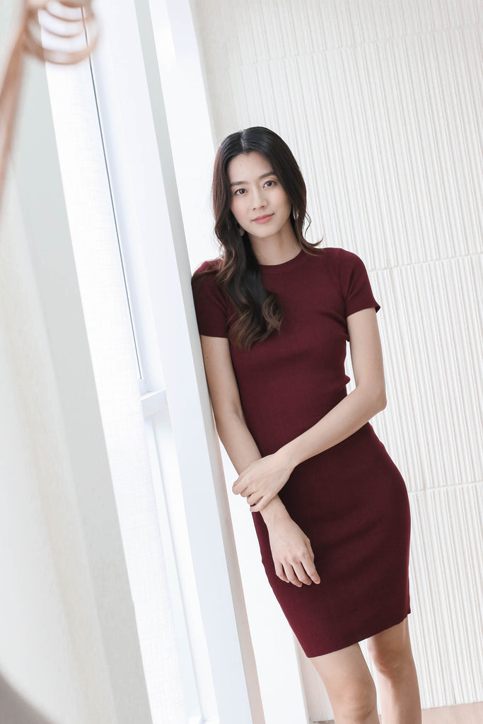 MELS KNIT DRESS IN BURGUNDY