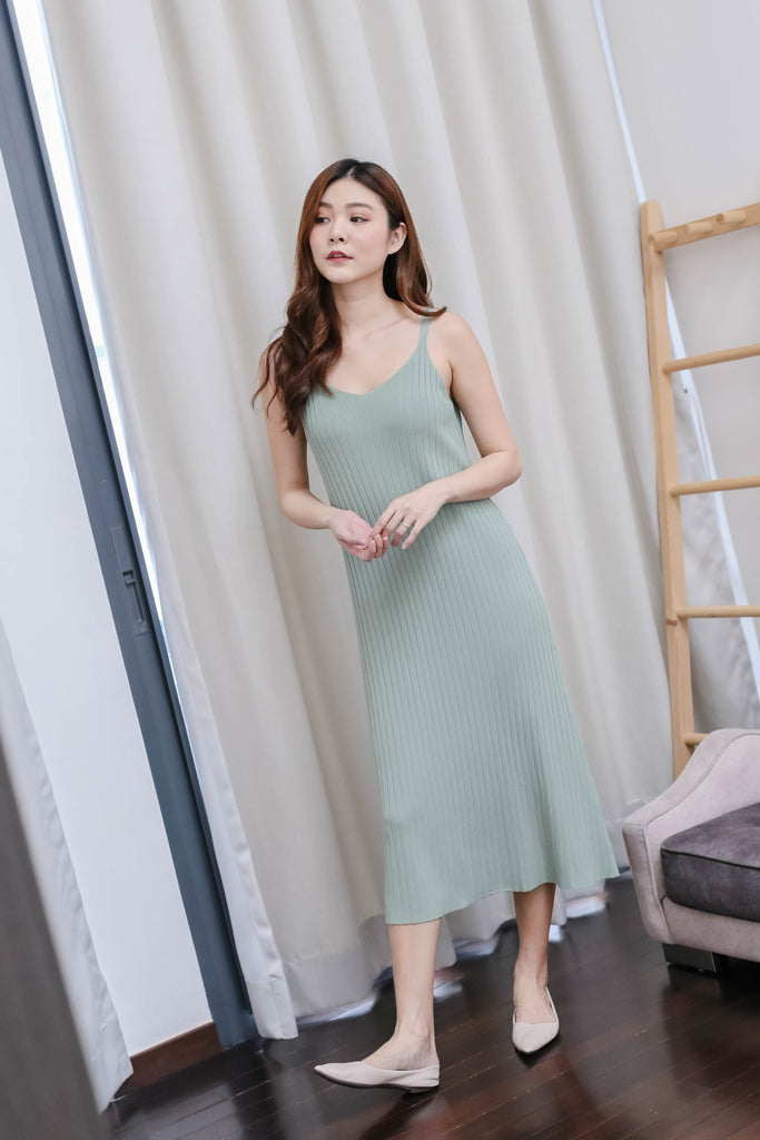 *BACKORDER* LEICA KNIT DRESS IN SAGE GREEN