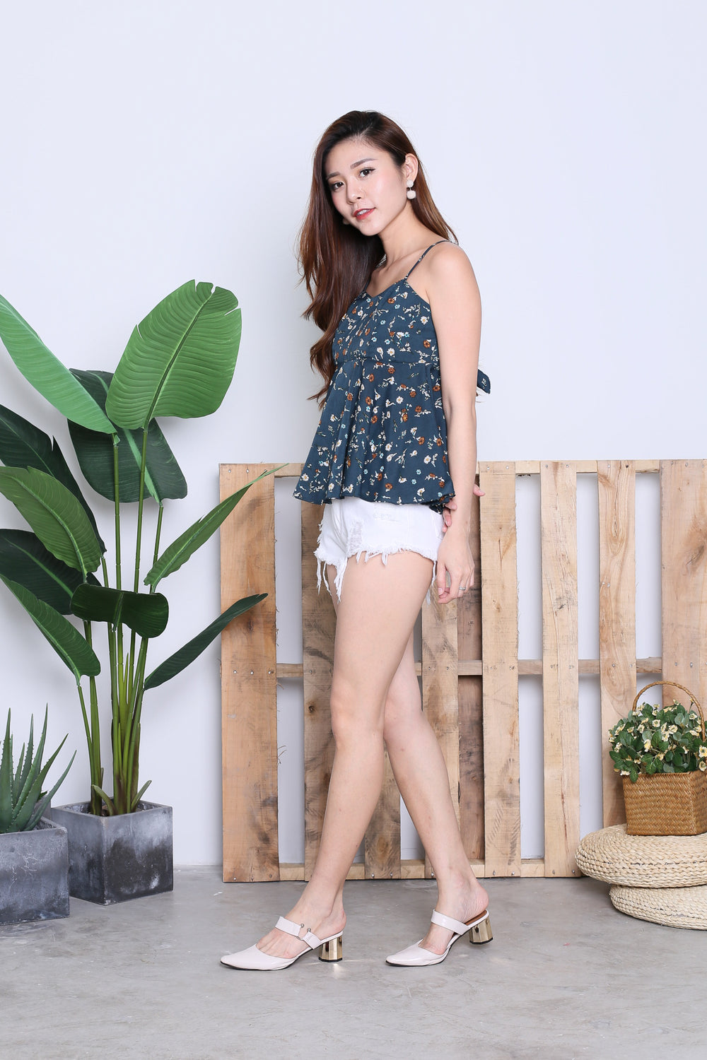 KIVA FLORAL BABYDOLL TOP IN DARK TEAL