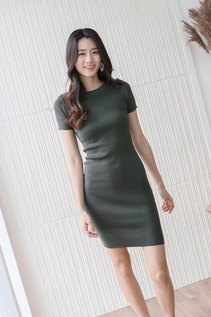 *BACKORDER* MELS KNIT DRESS IN OLIVE