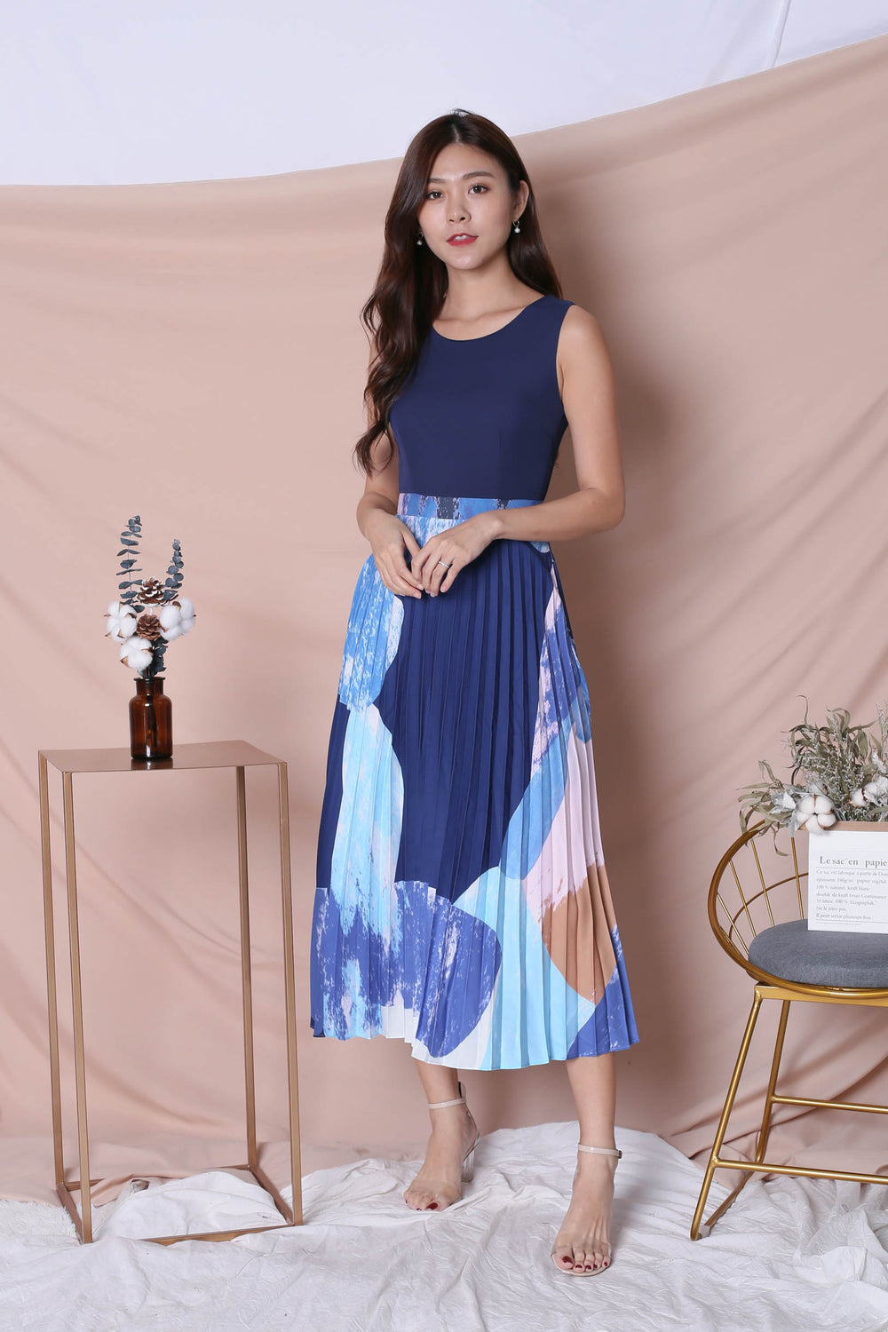 *TPZ* (PREMIUM) REVYN WATERCOLOUR ABSTRACT PLEATED MAXI (NAVY/ BLUE)