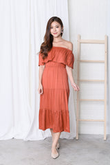 BESS OFF SHOULDER MAXI IN CORAL RUST