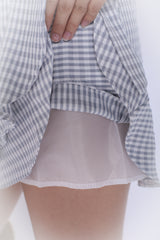 GINGHAM WRAP SKORTS IN LIGHT GREY