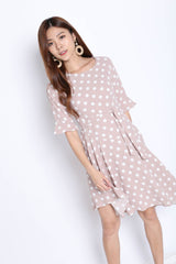 *TPZ* (PREMIUM) SAFFRON POLKA DOT DRESS IN NUDE PINK