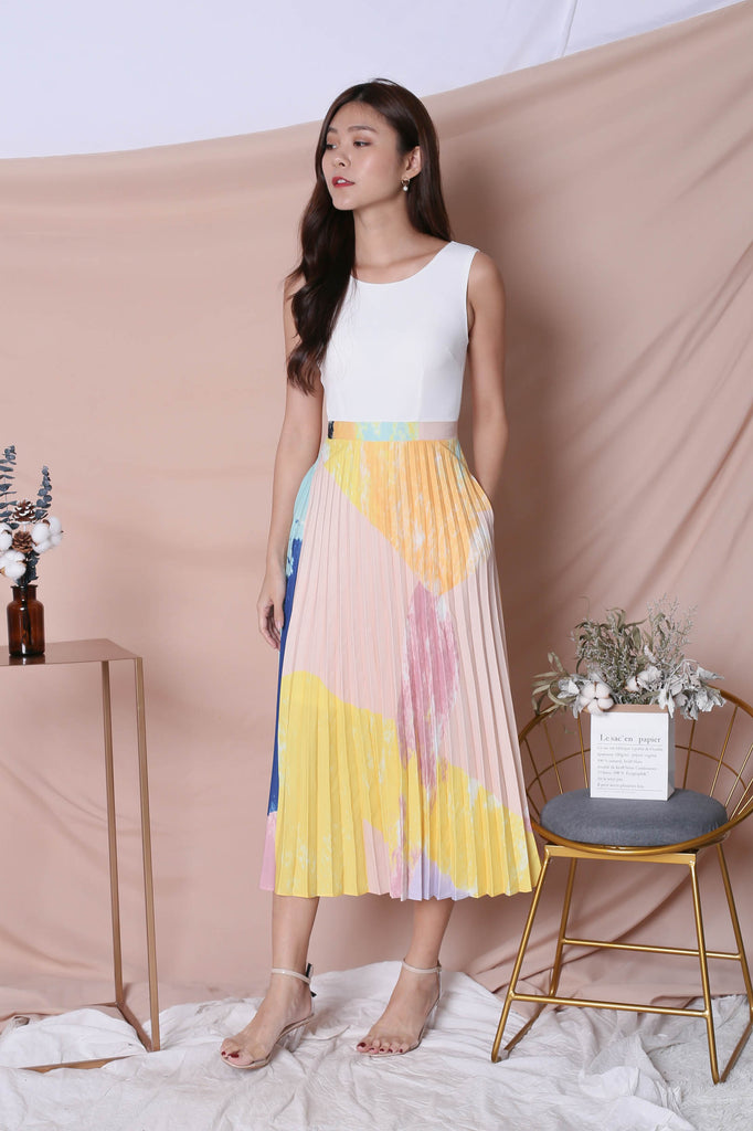*TPZ* (PREMIUM) REVYN WATERCOLOUR ABSTRACT PLEATED MAXI (YELLOW/ WHITE)