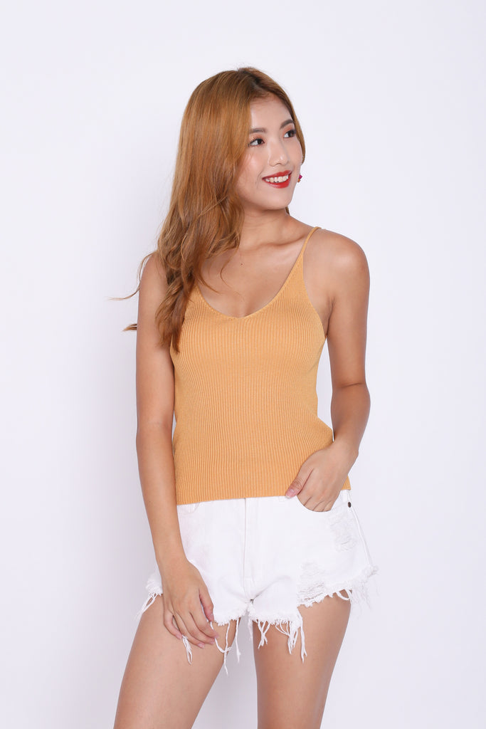 KAIA KNIT TOP IN MUSTARD - TOPAZETTE