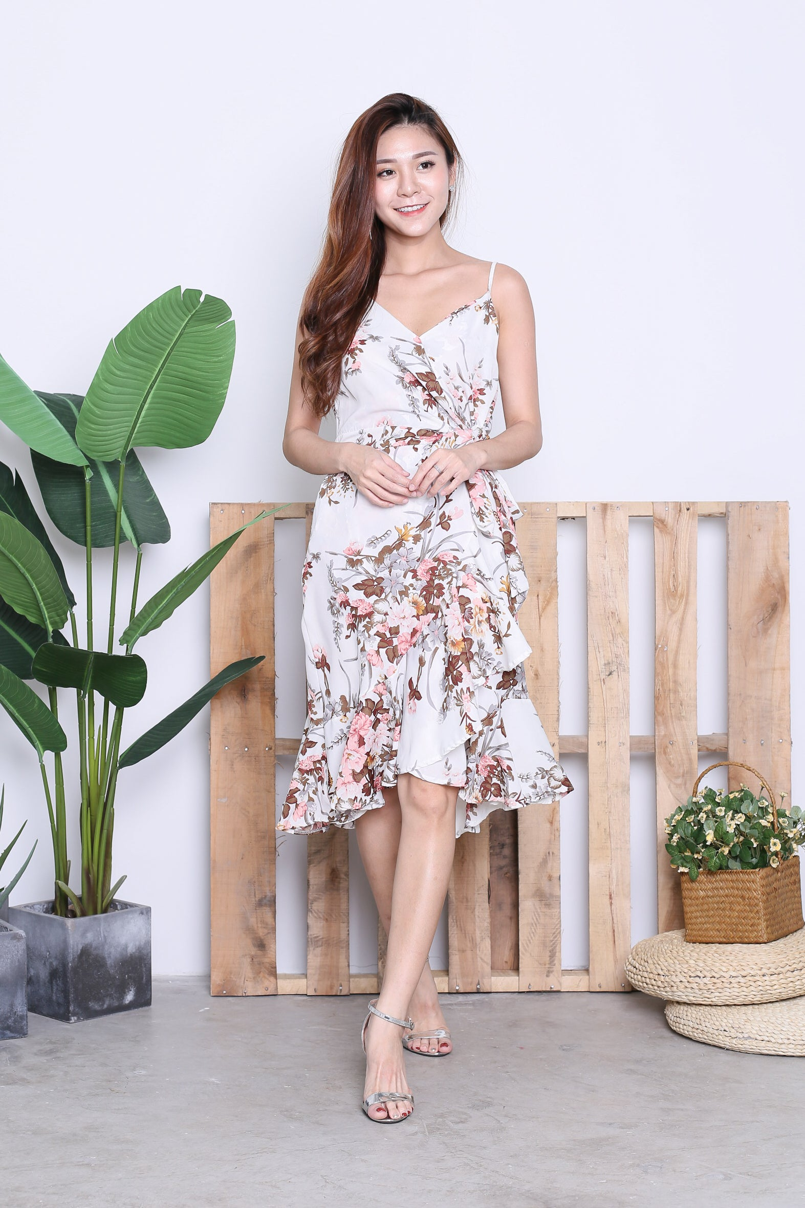 ELI FLORAL WRAP DRESS IN OFF WHITE