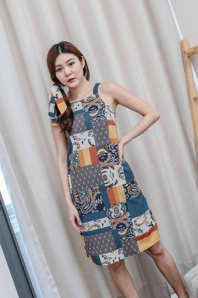 *TPZ* (PREMIUM) SAIGE BOHO PATCHWORK DRESS (BLUE)