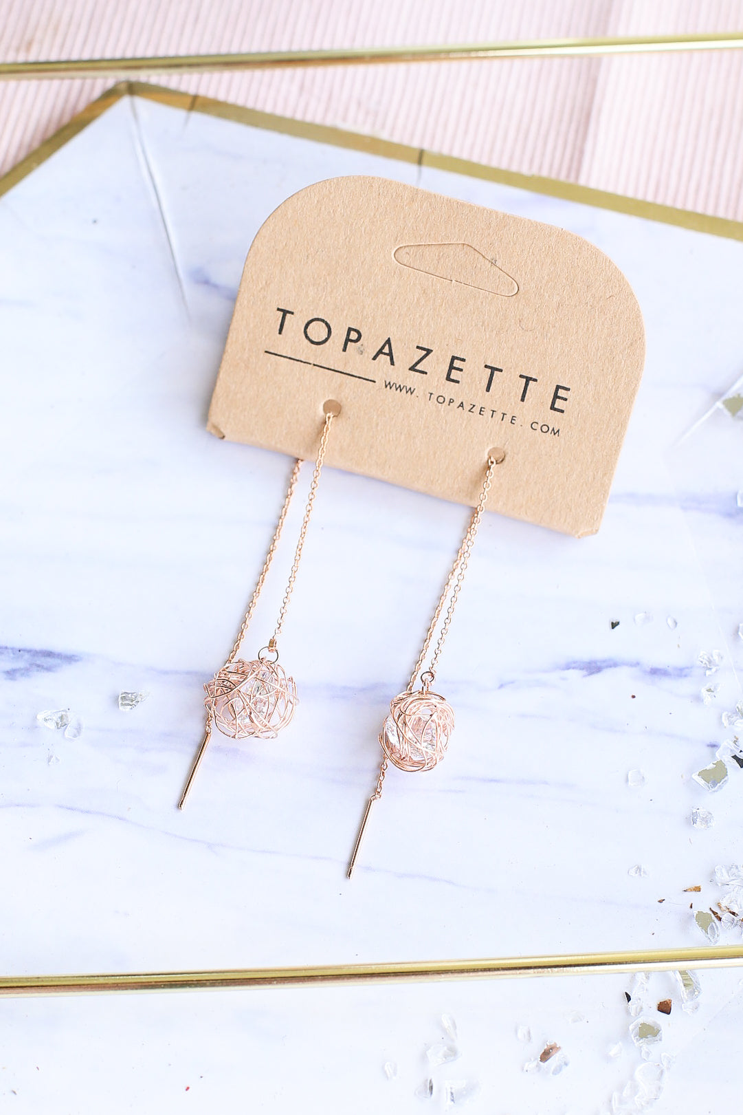 NESTED CRYSTAL STRING EARRINGS