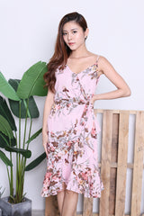 ELI FLORAL WRAP DRESS IN PINK
