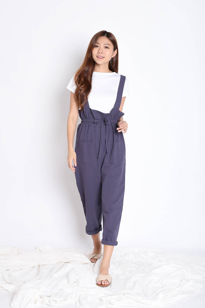 INSA DUNGAREE 2 PC SET IN PURPLISH BLUE - TOPAZETTE