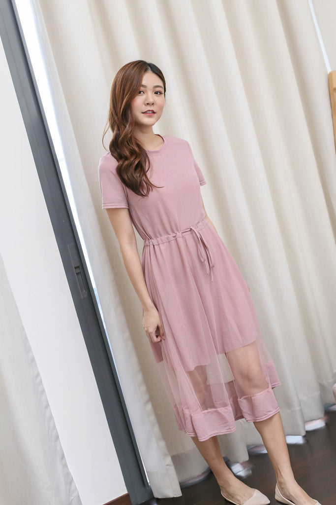 YERA TULLE TEE DRESS IN DUSTY PINK