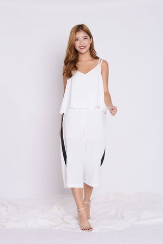 VARSITY CULOTTES JUMPSUIT IN WHITE