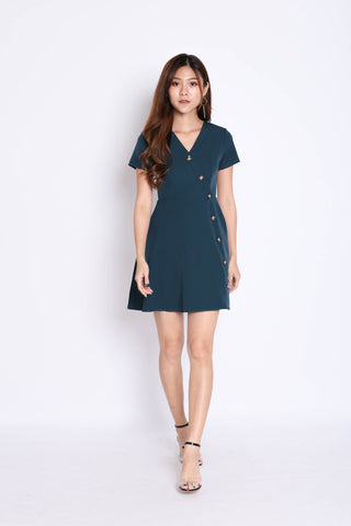 (PREMIUM) MAEVE BUTTON SLEEVED DRESS IN FOREST