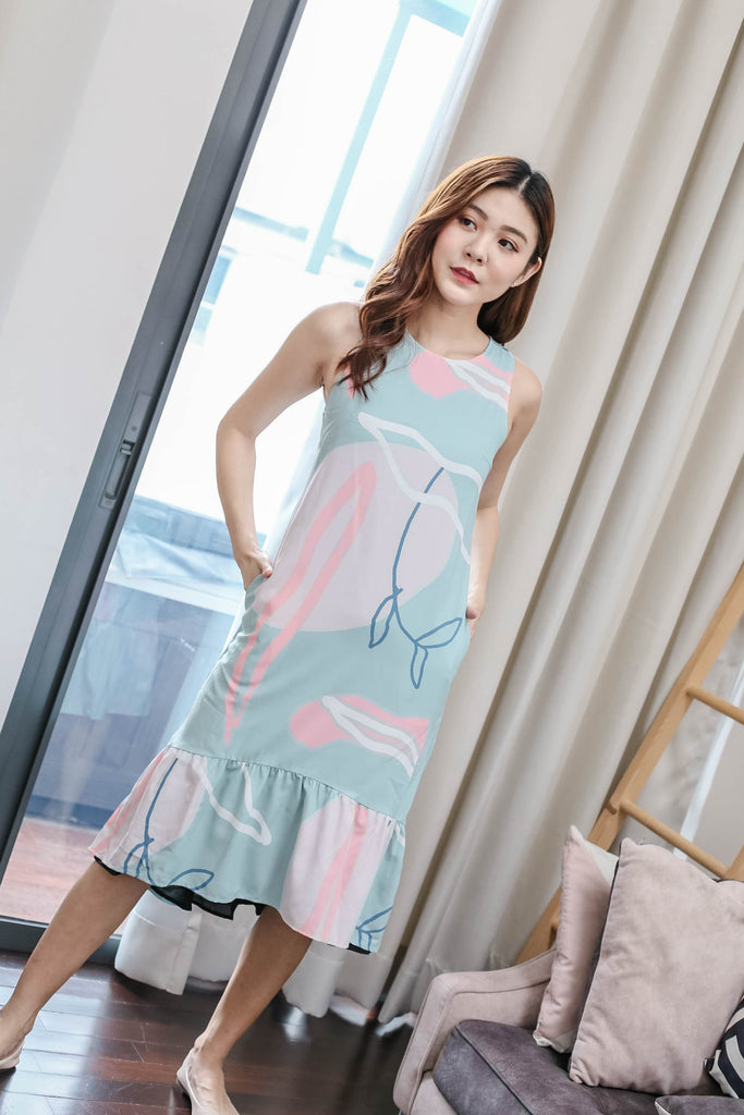 *TPZ* (PREMIUM) ELIS REVERSIBLE ASYMMETRICAL DRESS IN PASTEL/ BLACK