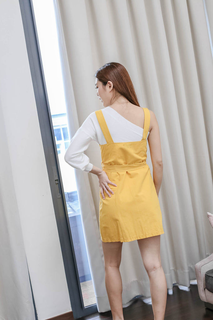 ERYN DUNGAREE DRESS IN SUNSHINE