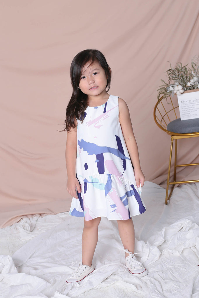 *LITTLE TOPAZETTE* ABSTRACT BRUSH STROKES TRAPEZE DRESS IN PURPLE - TOPAZETTE