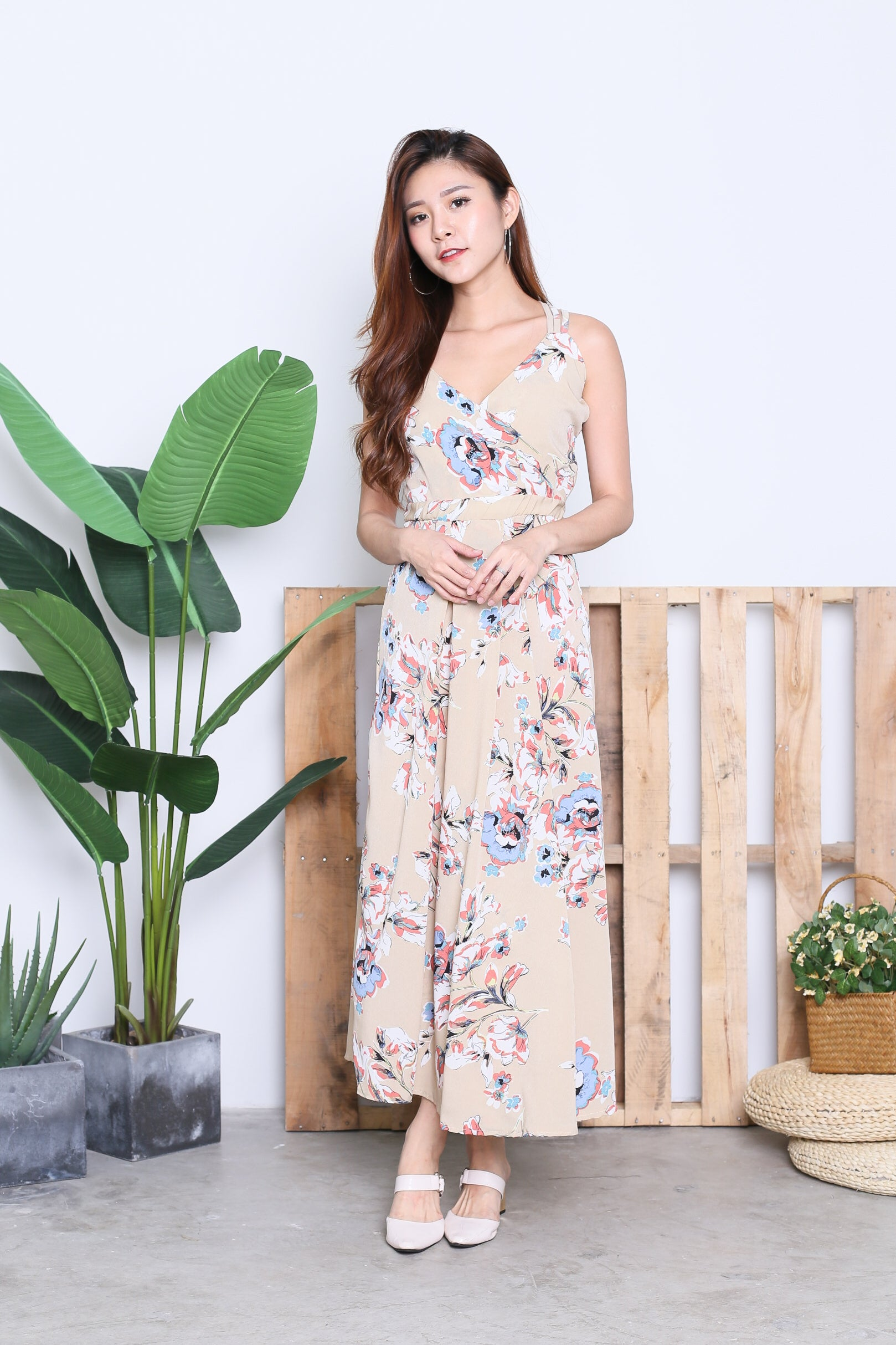DALIS FLORAL MAXI IN NUDE