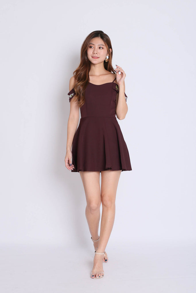 *TPZ* (PREMIUM) KAARI EMBROIDERY DRESS ROMPER IN PLUM