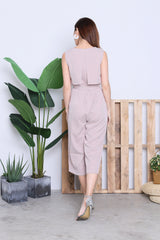 BLAKE HOUNDSTOOTH JUMPSUIT IN FADED PINK