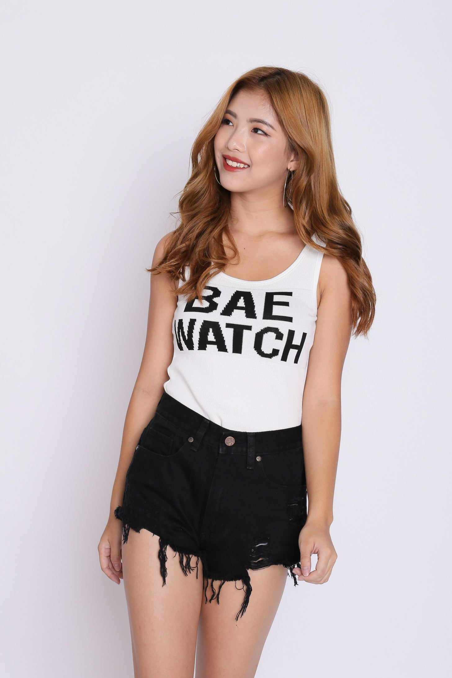 BAE WATCH KNIT TOP IN WHITE